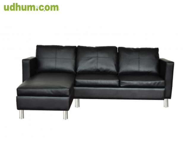 Sofa cheslong de cuero 3 asientos negro - Asientos para sofas ...