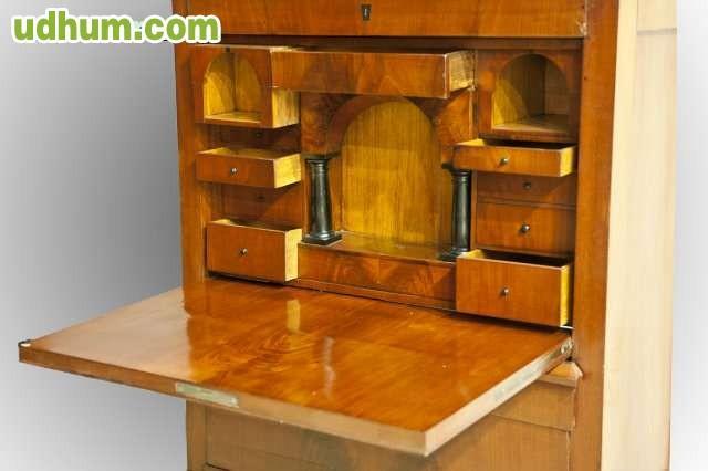 Mueble escritorio con reloj en madera de caoba medidas 110x232x51, 1