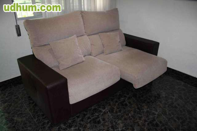 Sofa para tres plazas en tela y piel for Sofas sant boi
