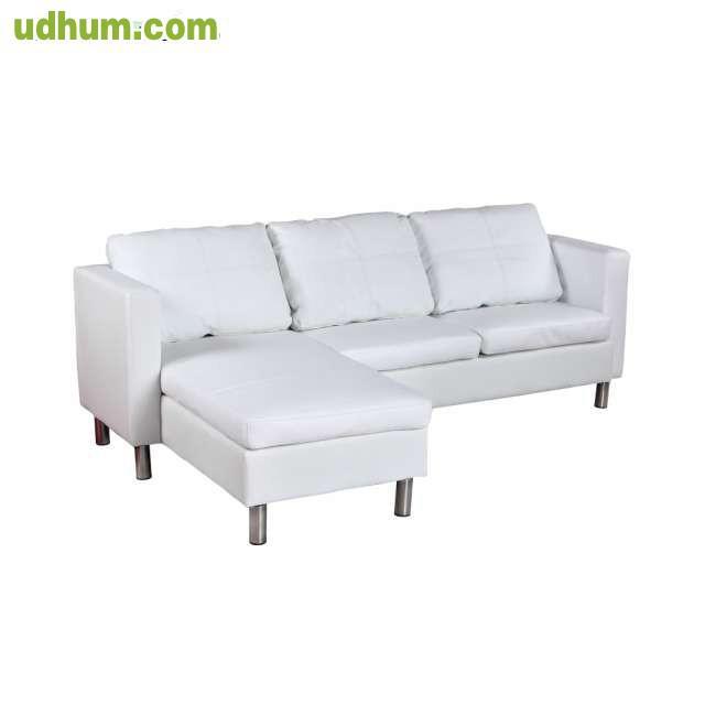 Sofa cheslong de cuero 3 asientos blanco 1 - Asientos para sofas ...