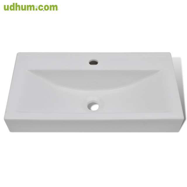 Lavabo ceramico forma rectangular blanco for Lavabo bajo encimera rectangular