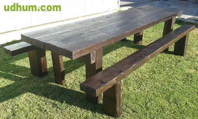 Mesas de madera rusticas tratadas 1 for Mesas rusticas de madera maciza