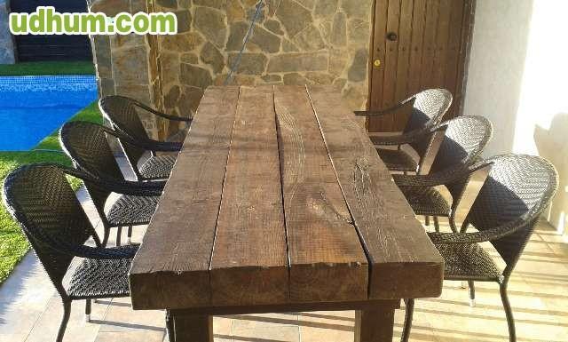 Mesas de madera rusticas tratadas 1 for Mesas de exterior baratas