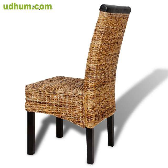 Set 2 sillas marrones de abaca tejidas a for Sillas marrones