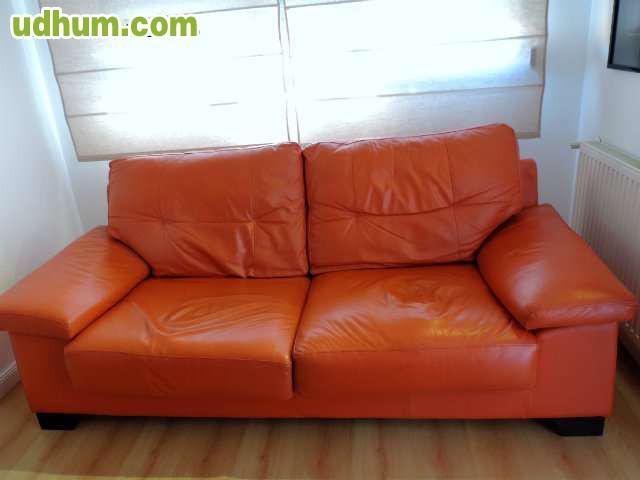 Sofa piel naranja dise o for Sofas de piel a buen precio