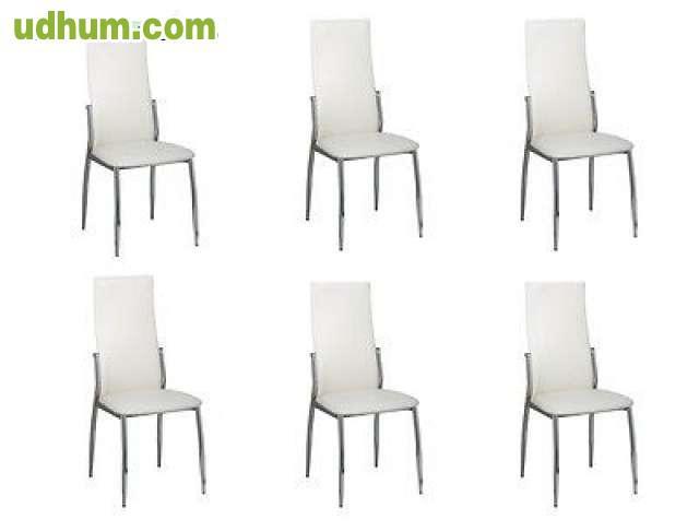 6 sillas polipiel blancas for Sillas blancas apilables