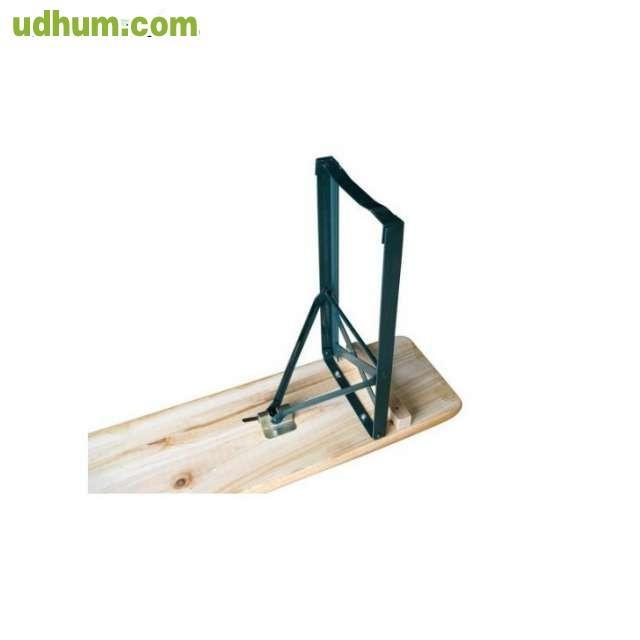 Conjunto 5 mesa 2 bancos madera plegab for Patas de mesa plegables