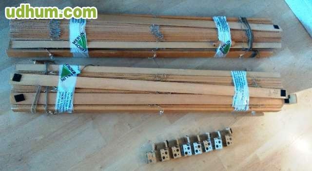 Cuatro estores de madera color pino - Estores de madera ...