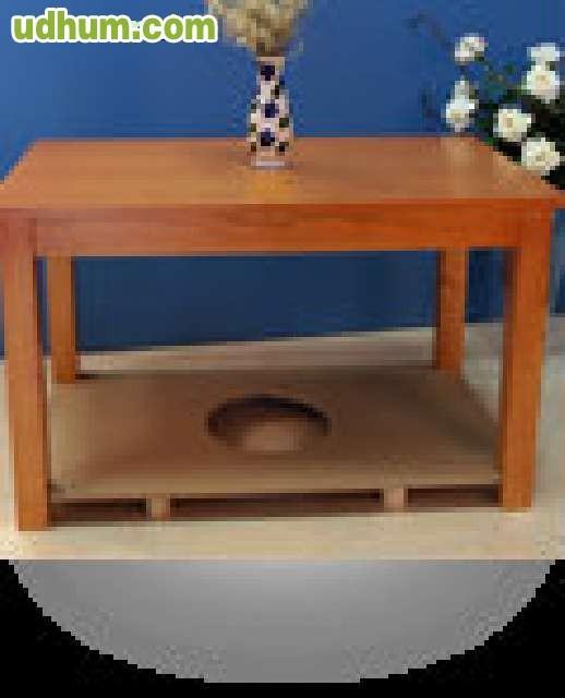 Mesa madera pino con tarima 90 for Mesas cuadradas de madera