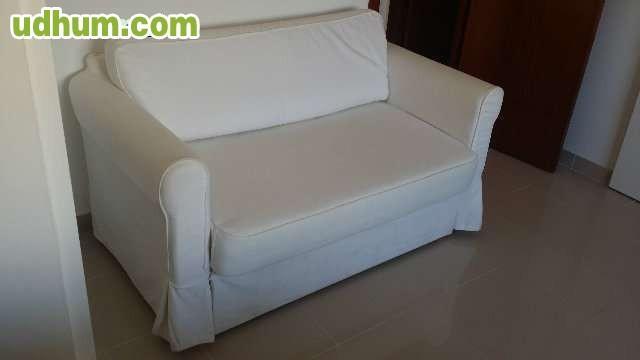 Sof cama ikea hagalund con funda blanca - Funda sofa blanca ...
