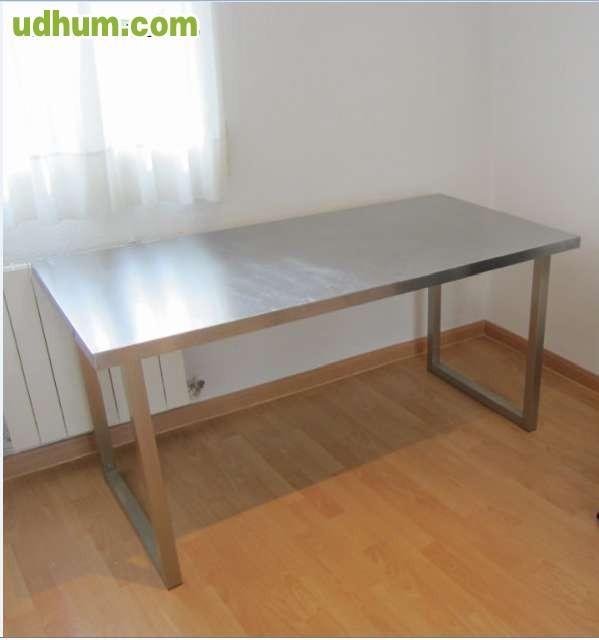 Mesa ikea con patas y tablero metalizada for Patas para mesas ikea