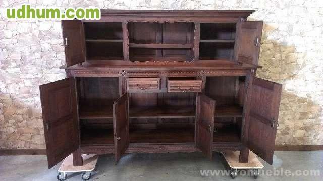Mueble rustico de roble macizo talla for Mueble auxiliar rustico