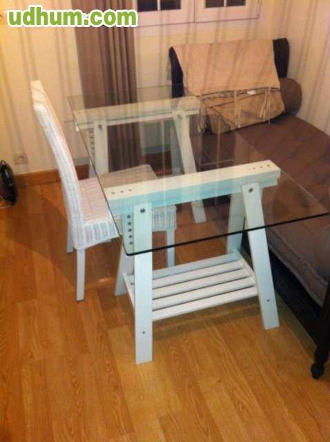 Mesa de cristal silla mimbre - Mesas de mimbre ...