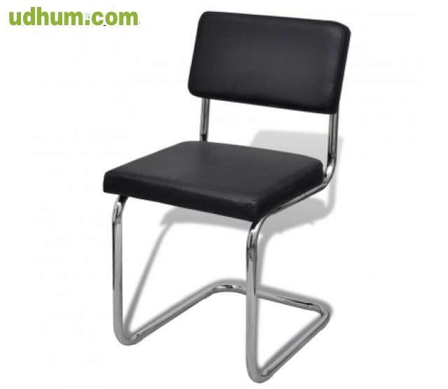 Set de silla de comedor 4 piezas negro d for Set sillas comedor