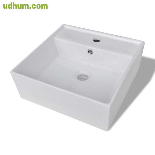 Lavabo cuadrado de ceramica con desborda for Lavabo cuadrado
