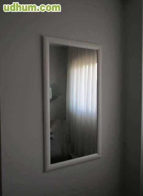 Espejo pared grande marco lacado blanco for Espejo grande blanco