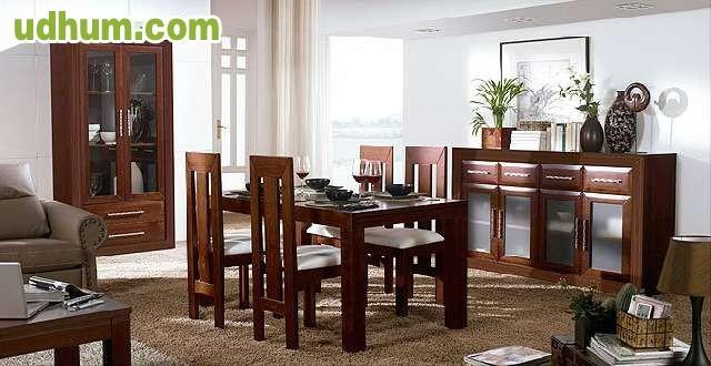 Comedor de madera completo en nogal for Salones completos modernos precios