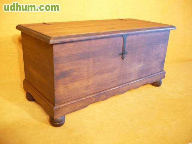 Baul madera pino rustico cofre arca for Baul madera barato