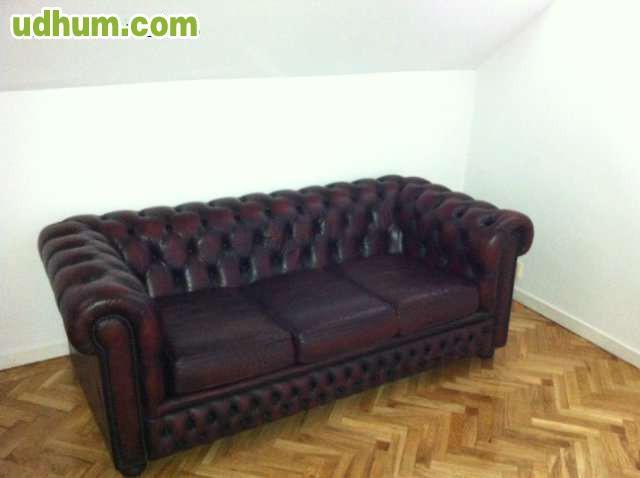 Sofa de piel antiguo tipo chester for Sofa tipo chester