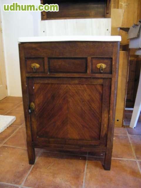Mueble ba o antiguo con pica porcelanica - Muebles bano antiguos ...