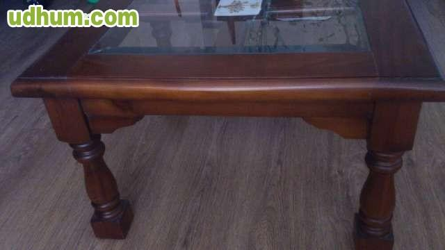 Mesa de centro y mesa esquina de madera for Mesa auxiliar esquinera