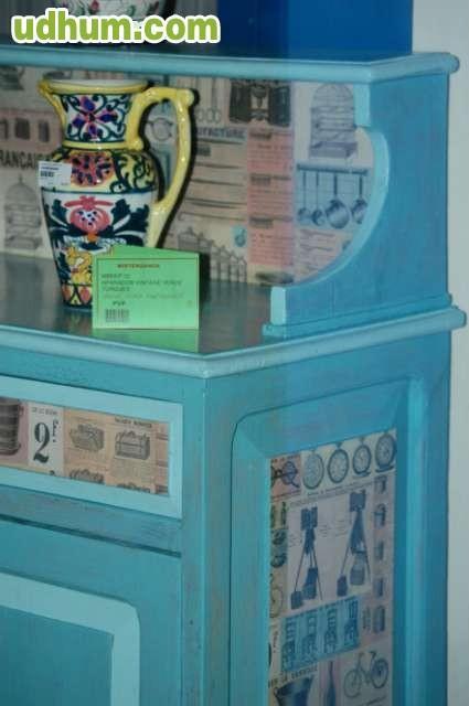 Adesivo Decorativo Portas De Vidro ~ MUEBLE APARADOR VINTAGE TURQUESA