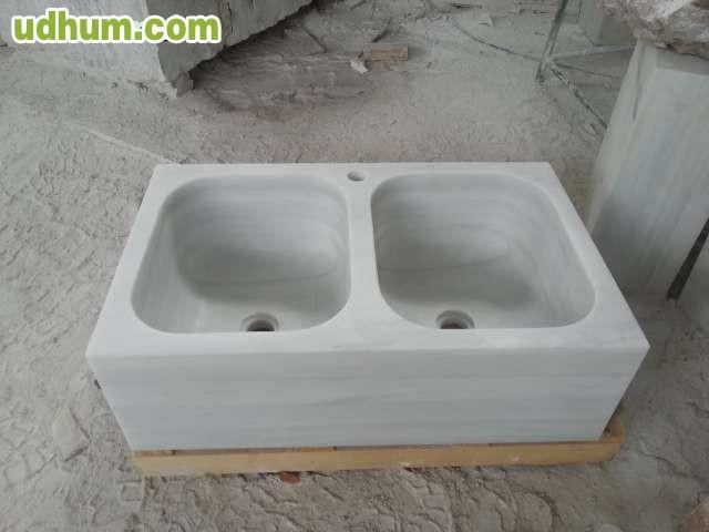 Fregadero dos senos m rmol blanco - Fregadero marmol ...
