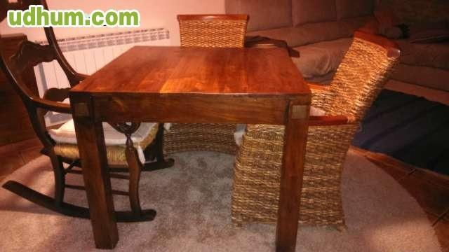 Mesa de salon madera maciza for Mesa salon madera