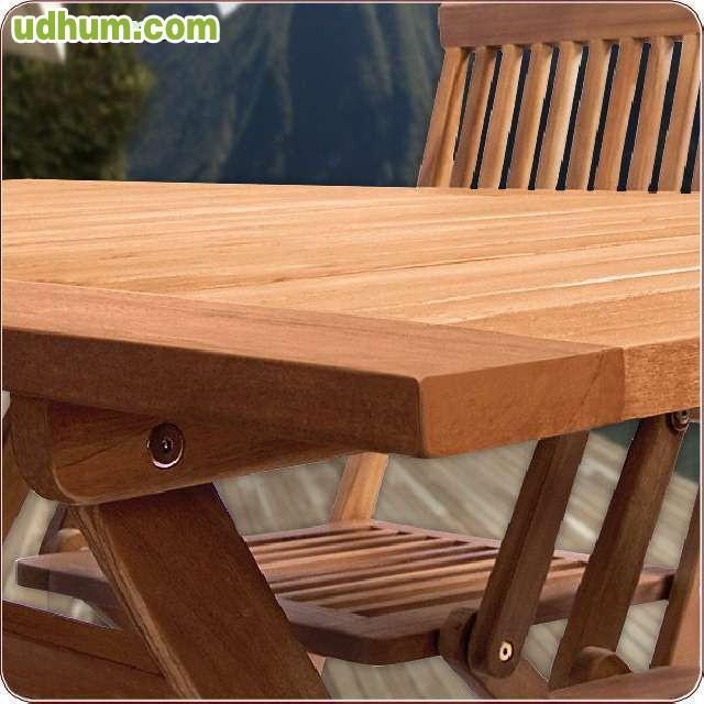 Conjunto jardin madera mesa 4 sillas - Mesas de terraza baratas ...