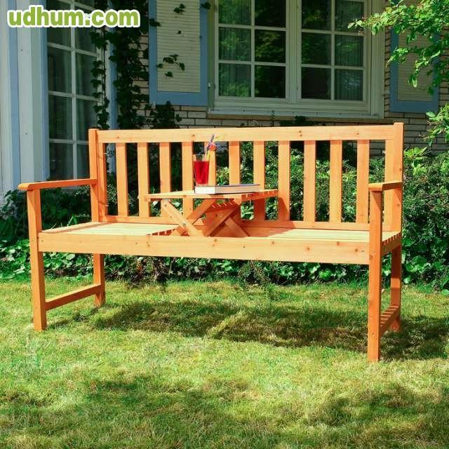 Banco de madera con mesa plegable for Mesa banco madera jardin