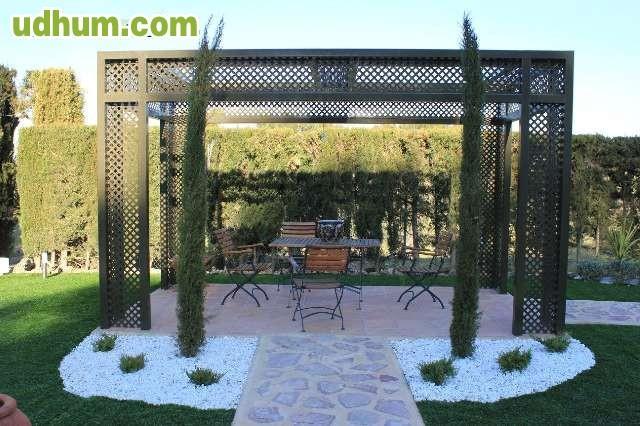 Cenador jardin metalico pergola for Cobertizo metalico jardin
