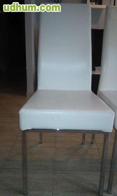 Mesa comedor cristal y cuatro sillas for Comedor cuatro sillas