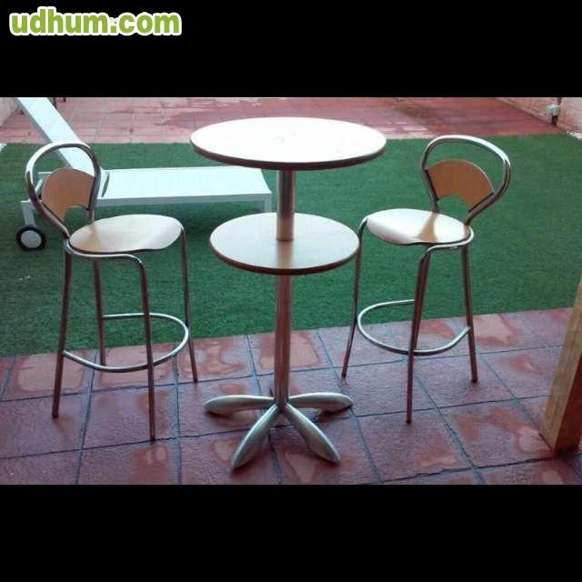 Mesa alta jardin y taburetes - Mesa alta con taburetes ...
