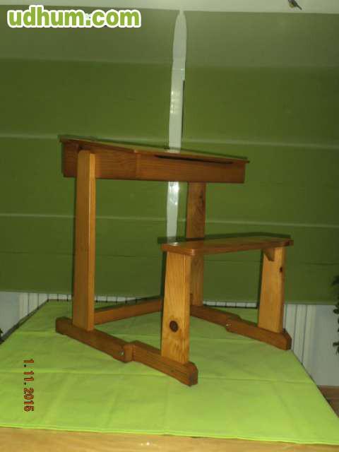 Pupitre infantil de madera maciza natura - Pupitre infantil madera ...