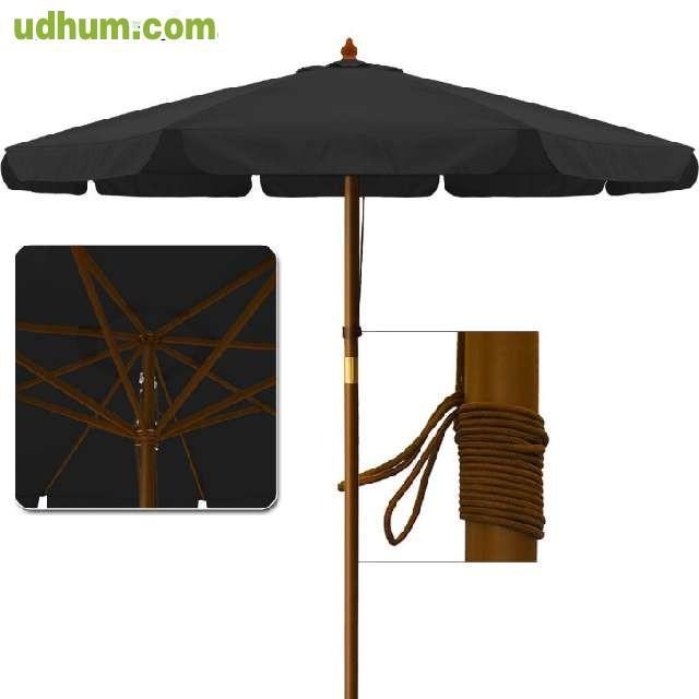 sombrilla parasol madera 3 5m. Black Bedroom Furniture Sets. Home Design Ideas