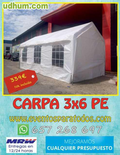 Carpa para fiestas 6x3 pe for Carpa comida