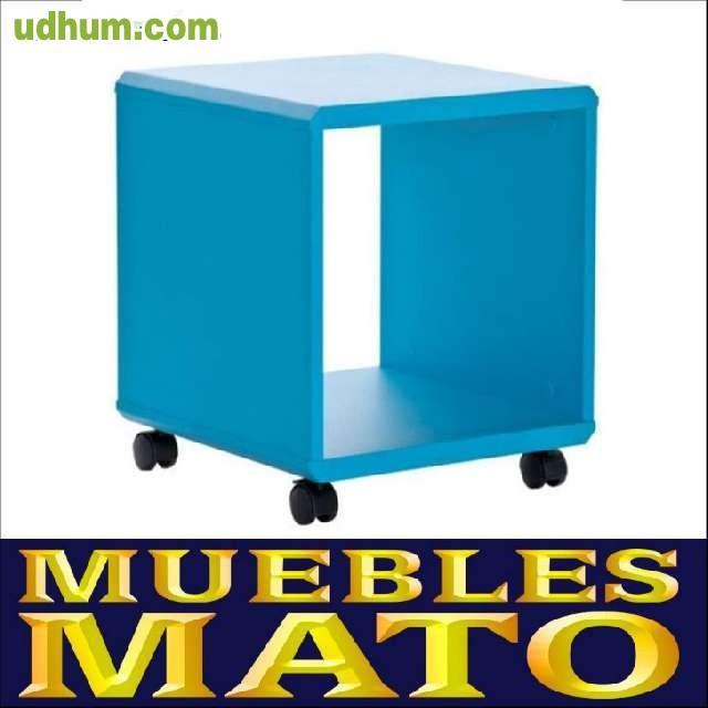Mesa mesita de dormitorio color azul for Muebles mato siero