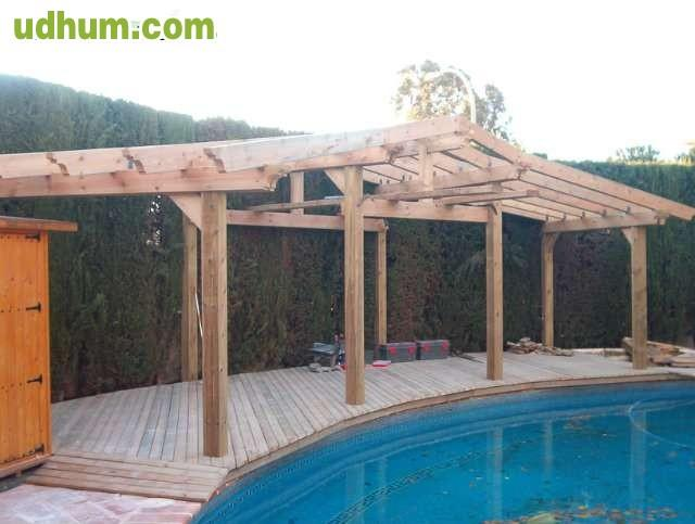 Pergolas madera laminada para piscina for Pergolas para piscinas