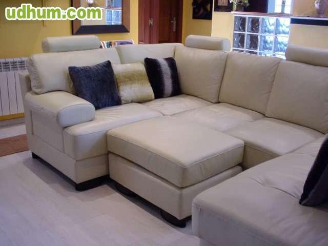 Sof piel blanco con chaslounge para 6 7 - Sofa piel blanco ...