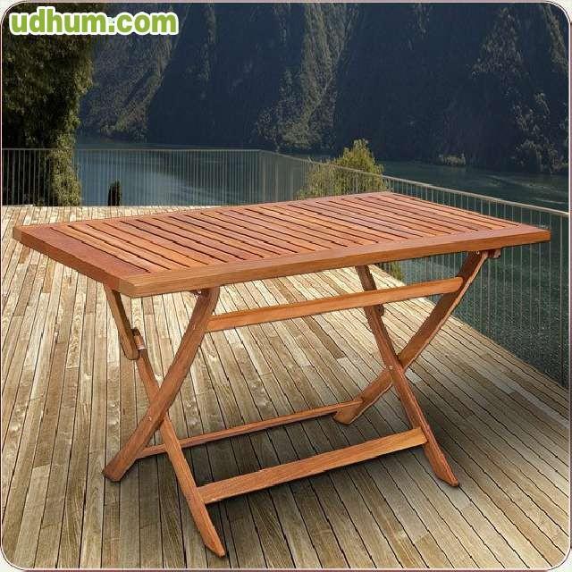 Conjunto jardin madera mesa 4 sillas for Conjunto jardin madera