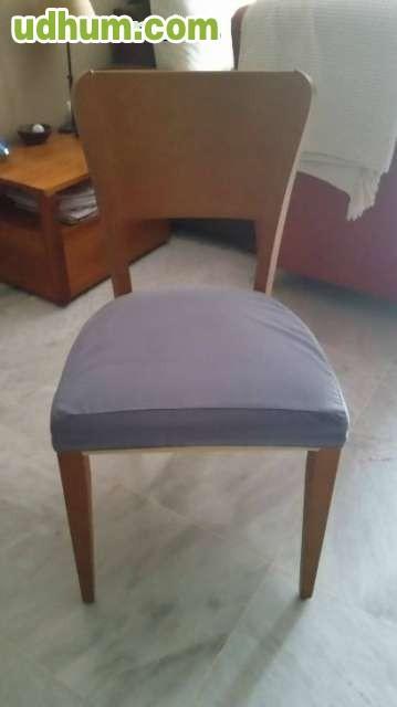 Mesa comedor en cerezo y 6 sillas for Mesa comedor cerezo