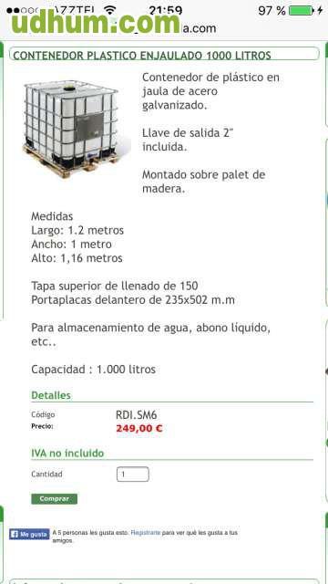Depositos de 1000 litros de agua potable for Bidones de agua de 1000 litros