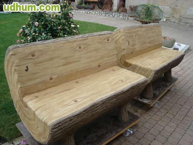 Barandilla de hormig n imitacion madera for Barandillas de madera para jardin