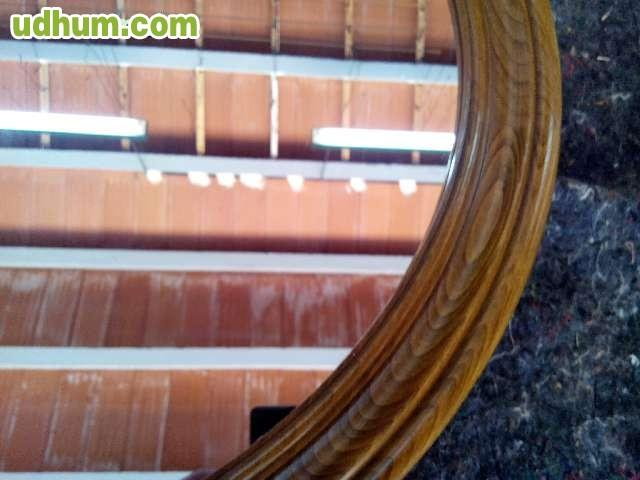 Espejo vintage redondo de madera for Antecomedores redondos madera