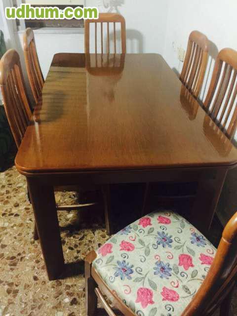 Mesa de sal n madera maciza 6 sillas for Mesa salon madera