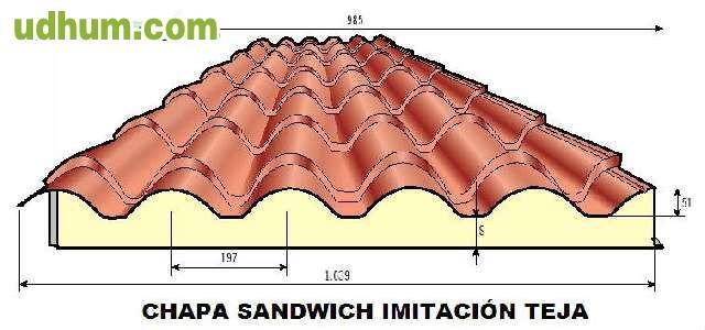 Chapa sandwich cubierta imitaci n teja for Cubiertas de panel sandwich imitacion teja