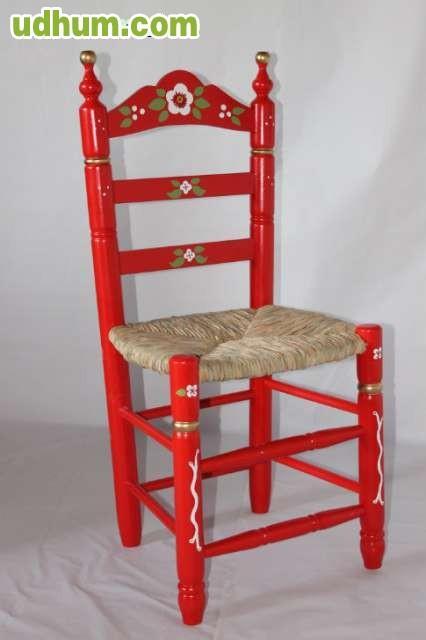 silla de feria asiento anea decorada