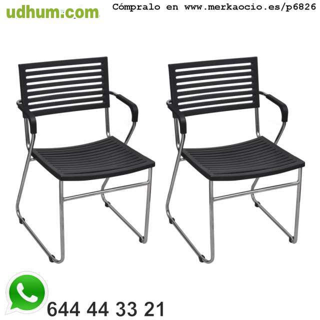 12 sillas negras apilables con reposabra for Sillas blancas apilables