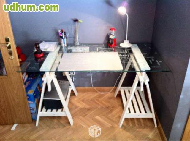 Mesa cristal con caballetes ikea for Mesa caballete ikea